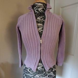 Talbots lavendar double zipper sweater, size P